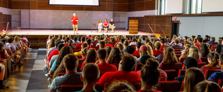 Central College President Mark Putnam speaks to a class of incoming students.